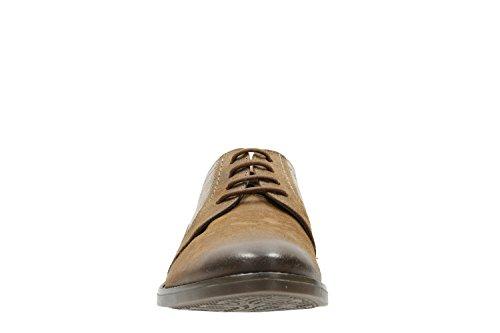 Clarks Trabajo Hombre Zapatos Garren Fly En Piel Marrón