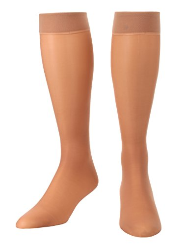 Sheer Light Support Knee Hi's Graduated Compression Stockings 8-15mmHg 1 Pair- Absolute Support - Nude Large - Made in The USA