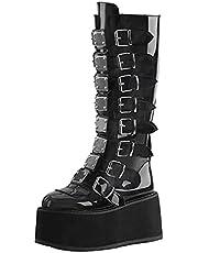heelchic Women Chunky Heel Goth Punk Platform Boots Knee High Back Zipper Combat Boots
