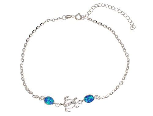 Sterling Sea Turtle - 925 sterling silver Hawaiian honu sea turtle cz blue synthetic opal link chain anklet 9