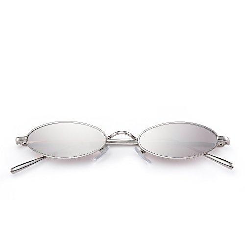 Ovaladas Hombre Mujer Metal Lentes Plateado Gafas Retro Sol Plateado Delgadas Anteojos Claro de Pequeñas Teñido qtAwxUx7P