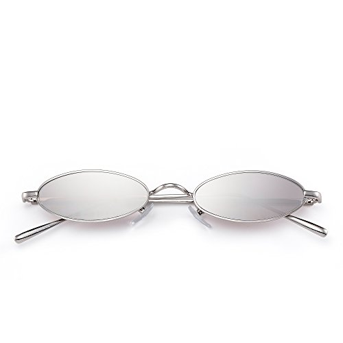 Delgadas Teñido Retro Lentes Hombre Mujer Sol de Claro Ovaladas Metal Anteojos Plateado Plateado Pequeñas Gafas xZqgBwfS0B