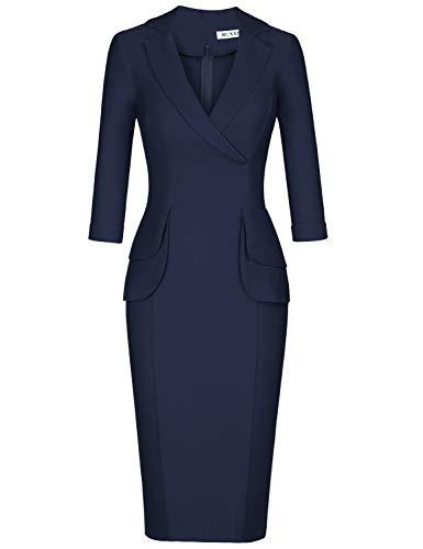MUXXN Ladies Retro Style Deep V Neck Peplum Knee Length Formal Pencil Dress (Blue M)