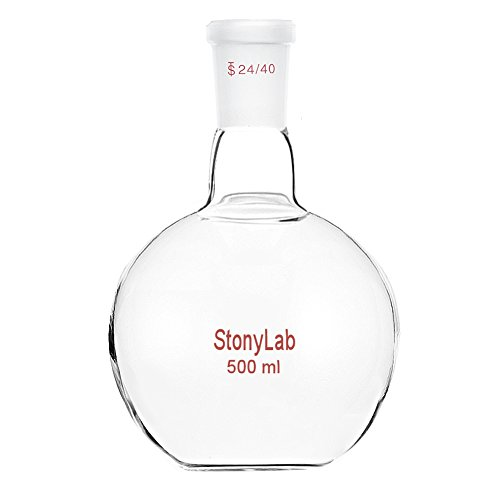 StonyLab Glass 500mL Heavy Wall Single Neck Flat Bottom Boiling Flask, with 24/40 Standard Taper Outer Joint - 500mL