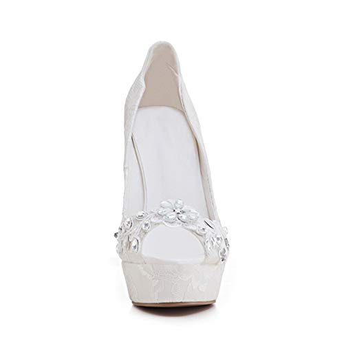 De La Bouche Ouvert Sandales De Étanche Bout Mode Mariage Blanches Du Dentelle Strass Poisson 12Cm White Plate Stiletto Forme Chaussures Femmes Talon Hauteur 75qxpAwd7