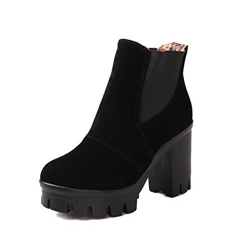 Allhqfashion Dames Ronde Gesloten Neus Hoge Hakken Frosted Low-top Solide Laarzen Zwart