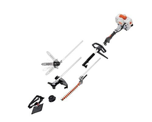 SUN SEEKER 26CC 2 Cycle 4 in 1 Multi Tool with Grass Trimmer Attachment, Hedge Trimmer Attachment, Pole Saw Attachment and Brush Cutter Blade with Bonus Harness