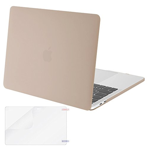 MOSISO MacBook Pro 13 Case 2018 2017 2016 Release A1989/A1706/A1708, Plastic Hard Shell Cover with Screen Protector Compatible Newest MacBook Pro 13 Inch with/Without Touch Bar, Camel