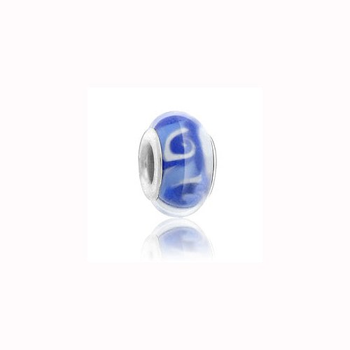Wave Lampwork Bead (Charm Factory Blue Wave Lampwork Glass Bead)