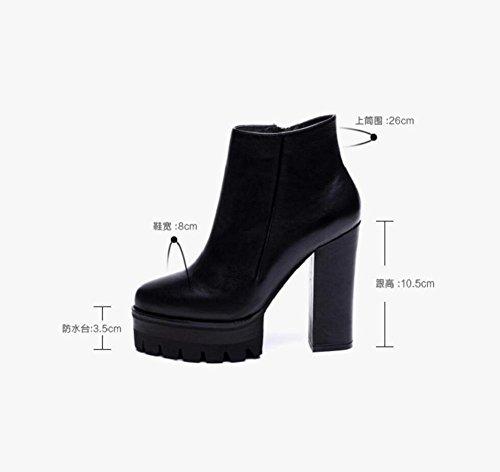 Chunky retrò tacchi scarpe di piccole dimensioni di tenere caldo velluto breve stivali donna , 35