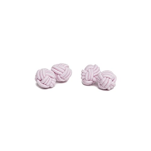 (Jacob Alexander Pair of Solid Color Silk Knot Cufflinks - Bridal Pink)