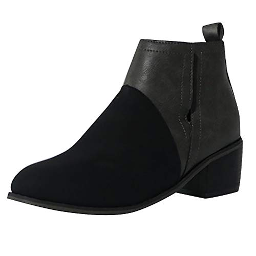 TnaIolral Ladies Boots Leisure Round Toe Joint Thick Square Heel Shoes (US:5, Black)