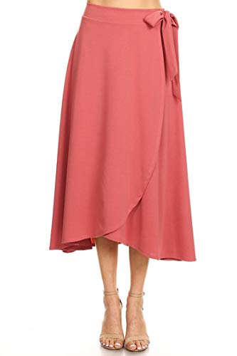 Solid Basic Faux Wrap Casual Loose Fit Elastic Waist Skirt/Made in USA Dusty Rose 3XL by HEO CLOTHING
