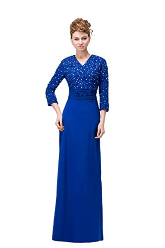 VogueZone009 Womens Long Sleeve V Neck Chiffon Charmeuse Full Dress with Beads, ColorCards, (Charmeuse Maternity Bridesmaid Dress)