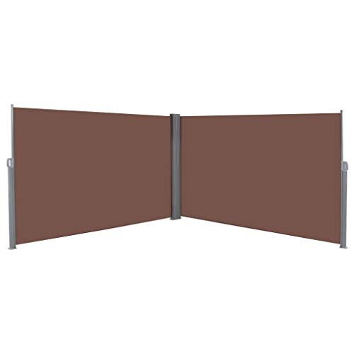 Festnight Retractable Double Folding Side Awning Screen Fence Patio Garden Outdoor Privacy Divider Sun Shade and Wind Scree for Garden Lawn Backyard Brown 236.2