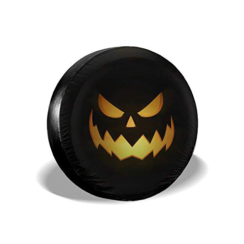 Tire Tote & Wheel Felts Scary Pumpkin Eyes Halloween Spare Tire Cover Polyester WaterProof Dust-proof Portable Wheel Bags Compatible With Jeep,Trailer, RV, SUV And Many Vehicle 14