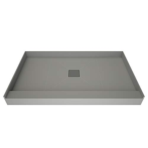 - Redi Base Trench Shower Pan with Center Drain – Single Curb, Tileable Grate, 2-Inch PVC Drain and Plate Included, 48