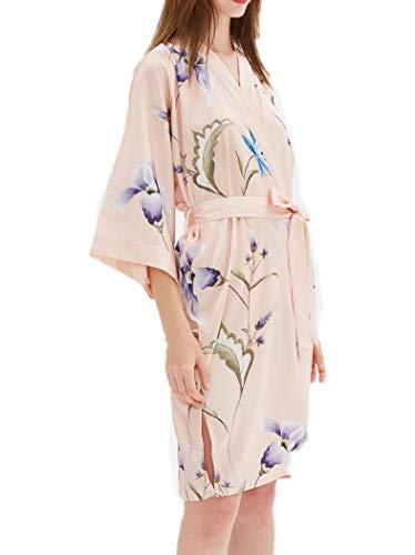 Vestaglia Corto Donna K04 Satin inRaso Abito Con Kimono Beige Prettystern da Floreale 78R4a