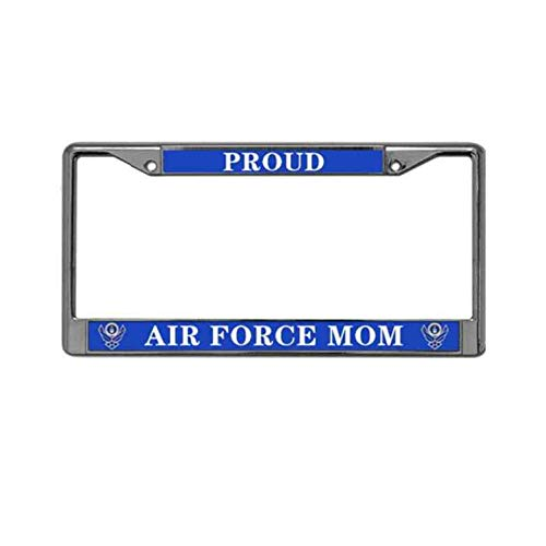 goodnolive Proud AIR Force MOM Metal Chrome License Plate Frame,US AIR Force MOM License Plate Frame Cover Holder Stainless Steel Polish Mirror License Plate Frame for US Vehicles