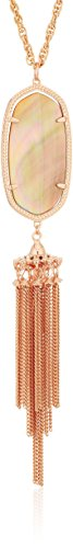 Kendra Scott Signature Rayne Rose Gold Plated Brown Mother-Of-Pearl Pendant Necklace, 33