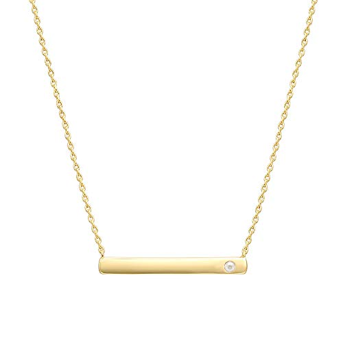 PAVOI 14K Gold Plated Swarovski Crystal Birthstone Bar Necklace | Dainty Necklace | Gold Necklaces for Women | June Pearl ()