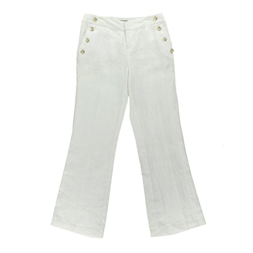 INC International Concepts Women's Wide Leg Linen Pants (4, Bright White)