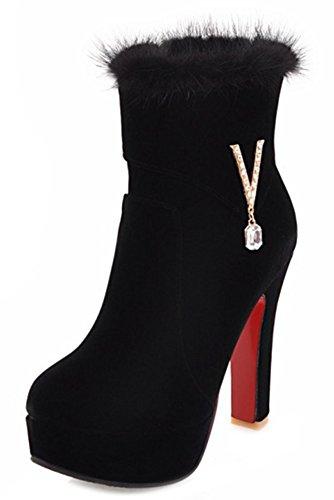 Boots Black Platform Women's Chic Shoes Aisun Heels High Rhinestones Chunky Hq0H7az