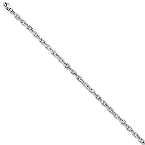 Or blanc 14 carats 11 mm fantaisie lien Chain Bracelet-JewelryWeb 21 cm