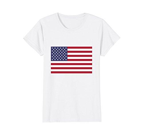 Womens American Flag T-shirt Large White - American Flag White T-shirt