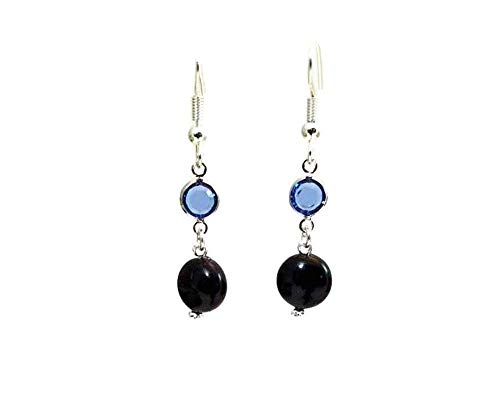 (Black Swarovski Coin Pearl Earrings with Sapphire Blue Swarovski Crystal Channel Links, Hypoallergenic or Nickel Free Ear Wires)