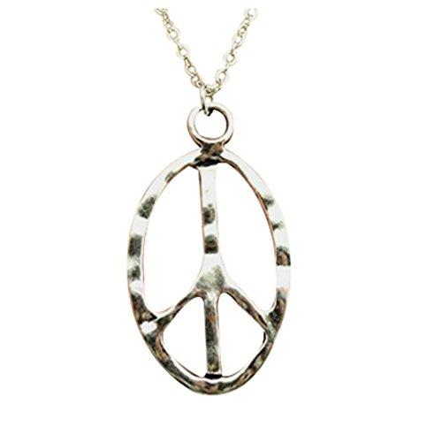 fashion simple antique silver tone peace sign pendant necklace , 70cm chain long necklace