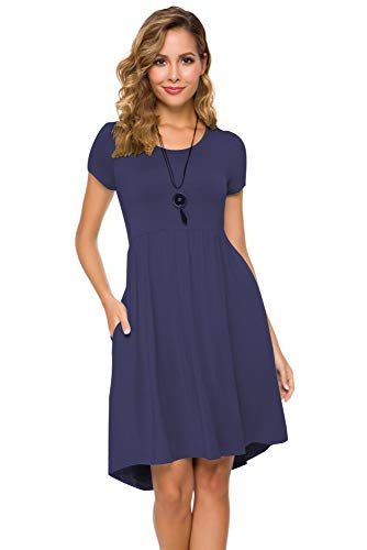 - Women's Short Sleeve Flare Midi Dress Summer Loose Casual Swing Dress with Pockets in Dot and Floral (S, Deep Blue)