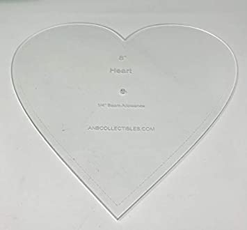 7.5 Choice of Size Acrylic Heart Quilt Template