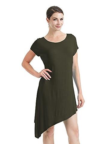 CTC WDR934 Womens Round Neck Short Sleeve Asymmetrical Hem Tunic Tee Dress L OLIVE - Together Short Sleeve Dress