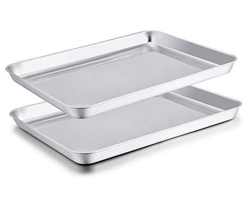 TeamFar Baking Sheet Set of 2, Baking Pans Tray Cookie Sheet Stainless Steel, Non Toxic & Healthy, Mirror Finish & Rust…