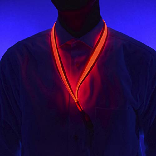 GlowCity Light-Up LED Lanyards - No Dull Spots Full Length Fiber Optics for Glow-in-The-Dark Parties, Cruises, Key and ID Badge Holders (Red) (Flashing Neck Strap Lanyard)