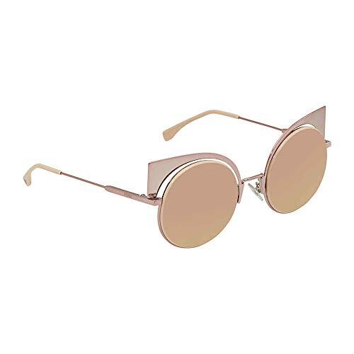 Fendi Women's Cat Eye Mirrored Sunglasses, Pink/Rose Gold, One ()