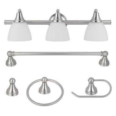 Globe Electric All-In-One Bath Set, Light Vanity, Towel Bar, Toilet Paper Holder, Towel Ring, Robe Hook