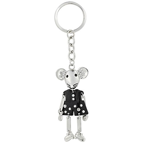 RIZILIA Special Vintage Jewelry Key Rings Black Mickey Mouse White Gold Plated Keychain