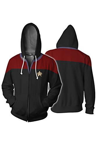 Paniclub Unisex Trek Discovery Jacket Adult Zipper Hoodie Halloween Cosplay Costume,XX-Large ()