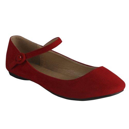 Bonnibel Dobie-4 Womens Ballet Flats With A Strap, Color:Red, Size:6.5