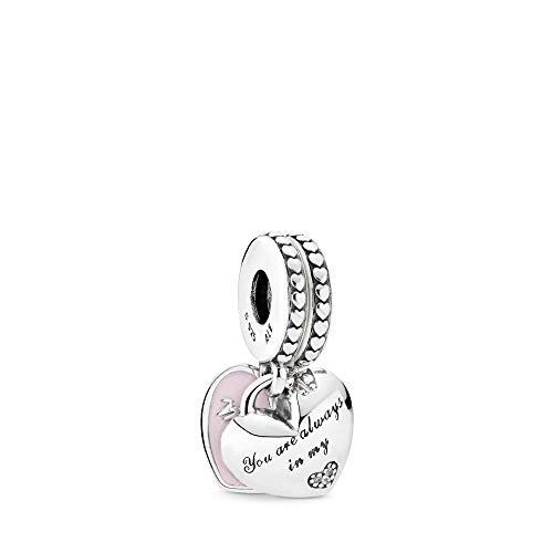 PANDORA Mother & Daughter Hearts Dangle Charm, Sterling Silver, Soft Pink Enamel & Clear Cubic Zirconia, One Size (Mom Charm Bead)
