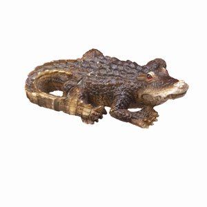 - Crocodile Fly Thru Decorative Window Figurine Ornament, Brown