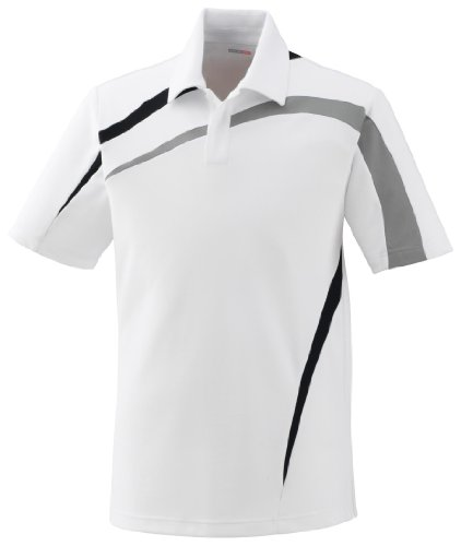 Impact Men's Performance Polyester Pique Color-Block Polo Shirt, XXL, White W / (Colorblock Pique Polo)