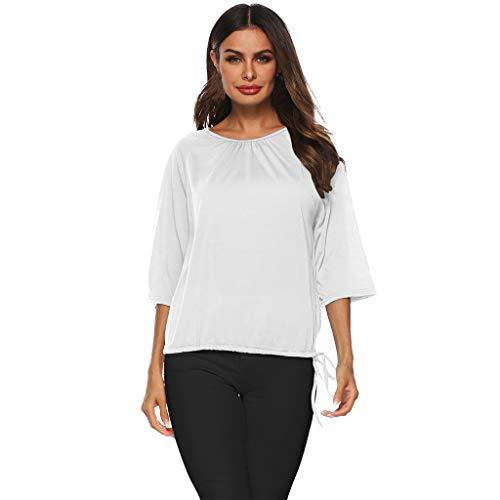 NCCIYAZ Womens T-Shirt O-Neck Crinkle Plain 3/4 Short