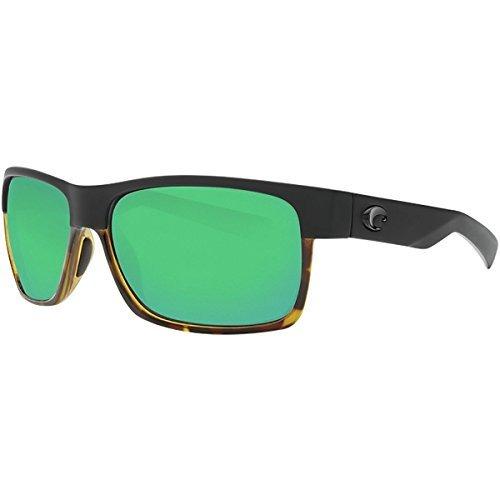 Costa Del Mar Half Moon Sunglasses Matte Black/Shiny Tortoise/Green Mirror (Half Moon Glass)