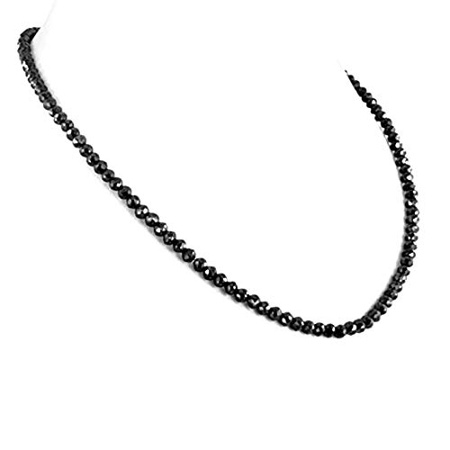 skyjewels Round Black Diamond 4mm Beads Necklace in 18K Gold Clasp 20
