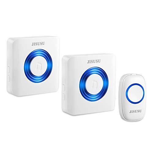 Wireless Doorbell, Twin Plug-in Push Button Door Bell for Home, IP44 Waterproof, 4-Level Volume, 52 Chimes, Portable Door chime Kit (Wireless Doorbell)
