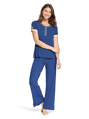 (Kathy Ireland Womens 2 Piece Short Sleeve Lace Trim Henley Shirt Pajama Sleep Pants Navy 3X)