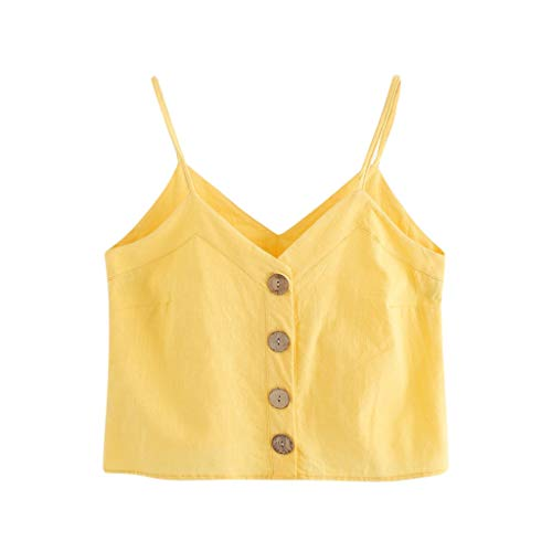- Crop Camisole for Women,SMALLE◕‿◕ 2019 Women's Fashion Self Tie Back V Neck Pearl Crop Cami Top Chiffon Yellow